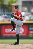 Indianapolis Indians starting pitcher Mitch Keller (49) in action against the Charlotte Knights at BB&T BallPark on August 22, 2018 in Charlotte, North Carolina.  The Indians defeated the Knights 6-4 in 11 innings.  (Brian Westerholt/Four Seam Images)