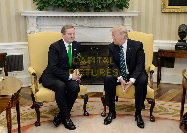 United States President Donald J. Trump holds a bilateral meeting with the Taoiseach of Ireland Enda Kenny in the Oval Office of the White House on March 16, 2017 in Washington, DC.<br /> CAP/MPI/CNP/RS<br /> ©RS/CNP/MPI/Capital Pictures