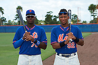 GCL Mets Kenneth Bautista and Dionis Paulino before the second game of a doubleheader against the GCL Marlins on July 24, 2015 at the St. Lucie Sports Complex in St. Lucie, Florida.  GCL Marlins defeated the GCL Mets 5-4.  (Mike Janes/Four Seam Images)