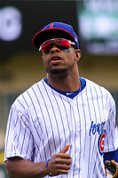 Iowa Cubs outfielder Wynton Bernard (2) heads to the dugout between innings during a Pacific Coast League game against the San Antonio Missions on May 2, 2019 at Principal Park in Des Moines, Iowa. Iowa defeated San Antonio 8-6. (Brad Krause/Four Seam Images)