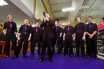 Only Men Aloud male voice choir at the Tesco Extra store in Fforestfach, Swansea today where they performed live before signing copies of their new CD which was released today..