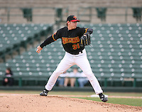 2007:  Brian Bass of the Rochester Red Wings delivers a pitch at Frontier Field during a International League baseball game. Photo By Mike Janes/Four Seam Images