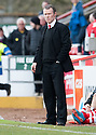 A dejected Stirling Albion Manager Stuart McLaren at the end of the game as he sees his team slide closer to relegation.