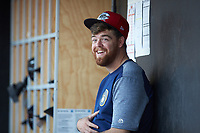 Carolina Mudcats pitcher Braden Webb (44) hangs out in the dugout during the game against the Fayetteville Woodpeckers at SEGRA Stadium on May 18, 2019 in Fayetteville, North Carolina. The Mudcats defeated the Woodpeckers 6-4. (Brian Westerholt/Four Seam Images)