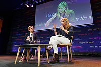 Pictured: Camilla Cavendish (R) talks to Joan Bakewell. Friday 31 May 2019<br /> Re: Hay Festival, Hay on Wye, Wales, UK.