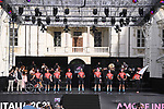Bahrain Victorious on stage at team presentation of the 2021 Giro d'Italia inside the Cortile d'Onore of the Castello del Valentino, on the occasion of the 160th anniversary of the Unification of Italy, Turin, Italy. 6th May 2021.  <br /> Picture: LaPresse/Fabio Ferrari | Cyclefile<br /> <br /> All photos usage must carry mandatory copyright credit (© Cyclefile | LaPresse/Fabio Ferrari)