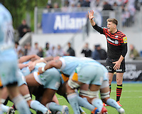 20130512 Copyright onEdition 2013©.Free for editorial use image, please credit: onEdition..Owen Farrell of Saracens reacts during the Premiership Rugby semi final match between Saracens and Northampton Saints at Allianz Park on Sunday 12th May 2013 (Photo by Rob Munro)..For press contacts contact: Sam Feasey at brandRapport on M: +44 (0)7717 757114 E: SFeasey@brand-rapport.com..If you require a higher resolution image or you have any other onEdition photographic enquiries, please contact onEdition on 0845 900 2 900 or email info@onEdition.com.This image is copyright onEdition 2013©..This image has been supplied by onEdition and must be credited onEdition. The author is asserting his full Moral rights in relation to the publication of this image. Rights for onward transmission of any image or file is not granted or implied. Changing or deleting Copyright information is illegal as specified in the Copyright, Design and Patents Act 1988. If you are in any way unsure of your right to publish this image please contact onEdition on 0845 900 2 900 or email info@onEdition.com