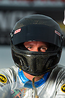 Aug 31, 2014; Clermont, IN, USA; NHRA pro stock motorcycle rider Shawn Gann during qualifying for the US Nationals at Lucas Oil Raceway. Mandatory Credit: Mark J. Rebilas-USA TODAY Sports