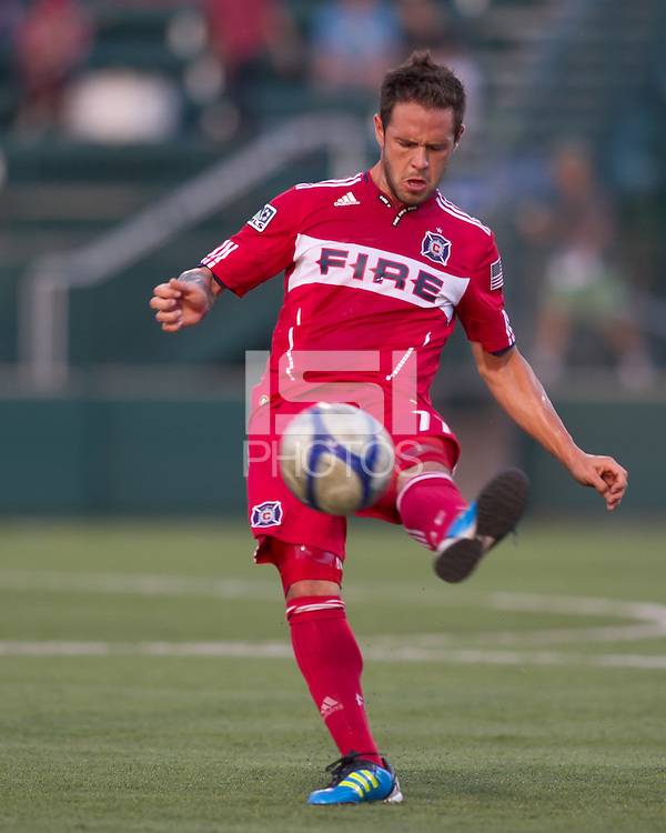 Chicago Fire midfielder Daniel Paladini (11) volley pass. In a Third Round U.S. Open Cup match, the Chicago Fire defeated the Rochester Rhinos, 1-0, at Sahlens Stadium on June 28, 2011.