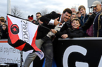 20130216 Copyright onEdition 2013©.Free for editorial use image, please credit: onEdition..Schalk Brits of Saracens with a young fan after the Premiership Rugby match between Saracens and Exeter Chiefs at Allianz Park on Saturday 16th February 2013 (Photo by Rob Munro)..For press contacts contact: Sam Feasey at brandRapport on M: +44 (0)7717 757114 E: SFeasey@brand-rapport.com..If you require a higher resolution image or you have any other onEdition photographic enquiries, please contact onEdition on 0845 900 2 900 or email info@onEdition.com.This image is copyright onEdition 2013©..This image has been supplied by onEdition and must be credited onEdition. The author is asserting his full Moral rights in relation to the publication of this image. Rights for onward transmission of any image or file is not granted or implied. Changing or deleting Copyright information is illegal as specified in the Copyright, Design and Patents Act 1988. If you are in any way unsure of your right to publish this image please contact onEdition on 0845 900 2 900 or email info@onEdition.com