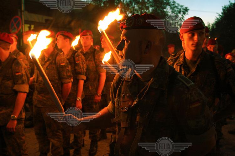German NATO KFOR peacekeeping soldiers celebrate German National Unification Day in Prizren.