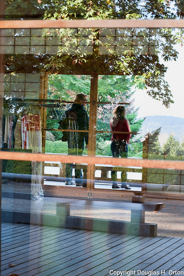 Reflections in the Pavilion Windows, Japanese Garden.  The Japanese Garden in Portland is a 5.5 acre respit.  Said to be one of the most authentic Japanese Garden's outside of Japan, the rolling terrain and water features symbolize both peace and strength.