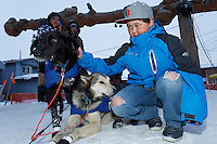 Young Mason Omiak of Nome pets a couple of Lachlan Clarke dogs shorlty after Lachlan finished the Iditarod at Nome on Sunday  March 22, 2015 during Iditarod 2015.  <br /> <br /> (C) Jeff Schultz/SchultzPhoto.com - ALL RIGHTS RESERVED<br />  DUPLICATION  PROHIBITED  WITHOUT  PERMISSION
