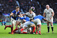 Antoine Dupont of France passes during the Guinness Six Nations match between England and France at Twickenham Stadium on Sunday 10th February 2019 (Photo by Rob Munro/Stewart Communications)