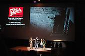 Awards presentation by Director Jean-Francois Leroy at the Visa Pour L'Image festival of photojournalism, Perpignan, France.
