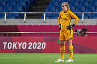 SAITAMA, JAPAN - JULY 24: Alyssa Naeher #1 of the United States during a game between New Zealand and USWNT at Saitama Stadium on July 24, 2021 in Saitama, Japan.