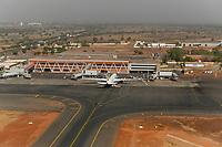 MALI, Bamako, airport Aeroport International President Modibo Keita Senou, aircraft of Ethiopian Airline