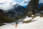 Skiing Mont Fourchon (2900 m) til the road leading to Gran San Bernardo pass, Italy, June 2020.