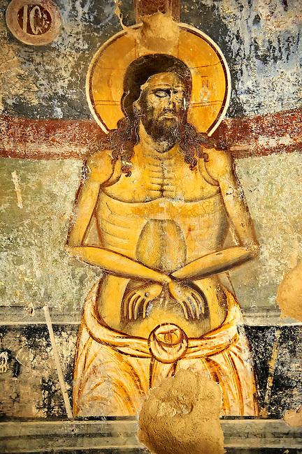 Byzantine fresco of Christ on the cross in the church of  Saint Nicolas.   Mystras ,  Sparta, the Peloponnese, Greece. A UNESCO World Heritage Site