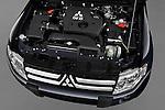 High angle engine detail of a 2009 Mitsubishi Pajero InStyle 5 Door SUV .