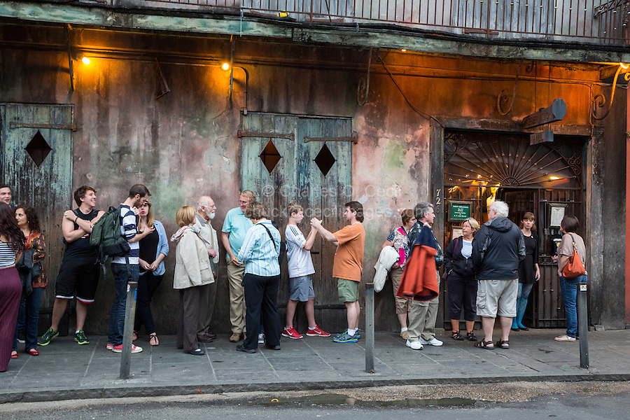 French Quarter, New Orleans, Louisiana.  People Lined up for a Performance at Preservation Hall.