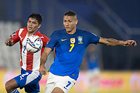 08th June 2021; Defensores del Chaco Stadium, Asuncion, Paraguay; World Cup football 2022 qualifiers; Paraguay versus Brazil;   Robert Rojas of Paraguay and Richarlison of Brazil