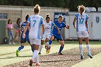 Seattle, WA - Sunday, May 21, 2017: Marta Vieira Da Silva and Rebekah Stott during a regular season National Women's Soccer League (NWSL) match between the Seattle Reign FC and the Orlando Pride at Memorial Stadium.