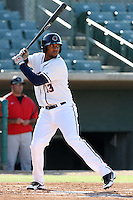 Domingo Santana #13 of the Lancaster JetHawks bats against the Lake Elsinore Storm at Clear Channel Stadium on May 11, 2012 in Lancaster,California. (Larry Goren/Four Seam Images)