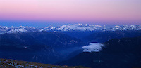 Swiss alps seen from Cassonsgrat peak at dusk, Flims, Switzerland