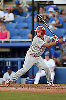 Clearwater Threshers designated hitter Andrew Pullin (17) at bat during a game against the Dunedin Blue Jays on April 10, 2015 at Florida Auto Exchange Stadium in Dunedin, Florida.  Clearwater defeated Dunedin 2-0.  (Mike Janes/Four Seam Images)