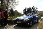 Saxo Bank team car on the Molenberg climb during the 96th edition of The Tour of Flanders 2012, running 256.9km from Bruges to Oudenaarde, Belgium. 1st April 2012. <br /> (Photo by Steven Franzoni/NEWSFILE).