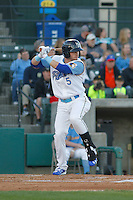Myrtle Beach Pelicans second baseman Ian Happ (5) at bat during a game against the Frederick Keys at Ticketreturn.com Field at Pelicans Ballpark on April 8, 2016 in Myrtle Beach, South Carolina. Frederick defeated Myrtle Beach 5-2. (Robert Gurganus/Four Seam Images)