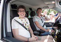 For the very first time since his race accident 2,5 years ago, which left him in a coma for 7 months and from which he miraculously awakened, former rider Stig Broeckx visits a cycling race.<br /> Driven around in the VIP-van of his former Lotto-Soudal team with driver (former Flanders winner ) Eric Vanderaerden (138 career wins!!) sitting next to him.<br /> As they stop halfway up the Col de Peyresourde, (mainly Belgian) people spontaneously walk up to the car to greet Stig, who has become an inspiration to many because of the way he fights back to a 'normal life'.<br /> <br /> Stage 12: Toulouse to Bagnères-de-Bigorre(209km)<br /> 106th Tour de France 2019 (2.UWT)<br /> <br /> ©kramon