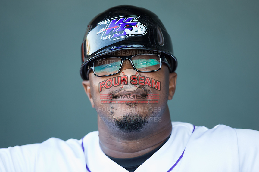 Winston-Salem Dash manager Willie Harris (1) prior to the game against the Potomac Nationals at BB&T Ballpark on August 5, 2017 in Winston-Salem, North Carolina.  The Dash defeated the Nationals 6-0.  (Brian Westerholt/Four Seam Images)