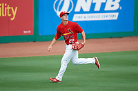 Palm Beach Cardinals left fielder Shane Billings (22) tracks a fly ball during a game against the Charlotte Stone Crabs on July 23, 2017 at Roger Dean Stadium in Palm Beach, Florida.  Charlotte defeated Palm Beach 3-0.  (Mike Janes/Four Seam Images)
