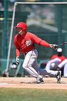Washington Nationals outfielder Brandon Miller (25) during a minor league spring training game against the Atlanta Braves on March 26, 2014 at Wide World of Sports in Orlando, Florida.  (Mike Janes/Four Seam Images)