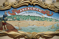 Europe/France/Aquitaine/33/Gironde/Bassin d'Arcachon/Arcachon/Le Moulleau: Détail du décor d'un manège représentant la station balnéaire d'Arcachon
