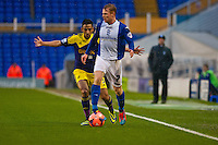 Saturday 25 January 2014<br /> Pictured: ( L-R ) Neil Taylortries to block the advances of Chris Burke  of of Birmingham City  <br /> Re: Birmingham City v Swansea City FA Cup fourth round match at St. Andrew's Birimingham