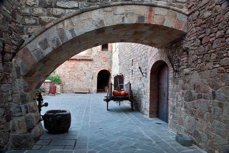 Outdoor courtyard at Castello di Amorosa. Napa Valley, California. Property relased