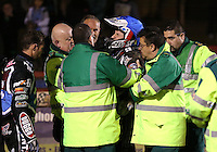 Adam Ellis of Lakeside Hammers looks in pain after crashing in Heat 14 - Lakeside Hammers vs Leicester Lions, Elite League Speedway at the Arena Essex Raceway, Pufleet - 04/04/14 - MANDATORY CREDIT: Rob Newell/TGSPHOTO - Self billing applies where appropriate - 0845 094 6026 - contact@tgsphoto.co.uk - NO UNPAID USE