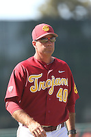 Head Coach Dan Hubbs (40) of the Southern California Trojans during a game against the Oregon Ducks at Dedeaux Field on April 18, 2015 in Los Angeles, California. Oregon defeated Southern California, 15-4. (Larry Goren/Four Seam Images)