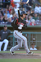 Javier Guerra (13) of the Lake Elsinore Storm bats against the Inland Empire 66ers at San Manuel Stadium on April 29, 2017 in San Bernardino, California. Inland Empire defeated Lake Elsinore, 3-1. (Larry Goren/Four Seam Images)