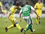 Hibs v St Johnstone…18.11.17…  Easter Road…  SPFL<br />Richie Foster and Lewis Stevenson<br />Picture by Graeme Hart. <br />Copyright Perthshire Picture Agency<br />Tel: 01738 623350  Mobile: 07990 594431