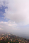 Israel, Lower Galilee, a view of Migdal and the Sea of Galilee from Mount Arbel