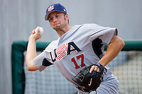 Ehren Wassermann #17 of Team USA warms up in the bullpen at the USA Baseball National Training Center, September 4, 2009 in Cary, North Carolina.  (Photo by Brian Westerholt / Four Seam Images)