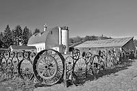 Wheel fence and barn. Eastern Washington.
