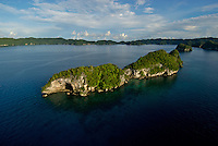 Aerial of the Rock Islands in the late afternoon,Palau, <br /> Micronesia