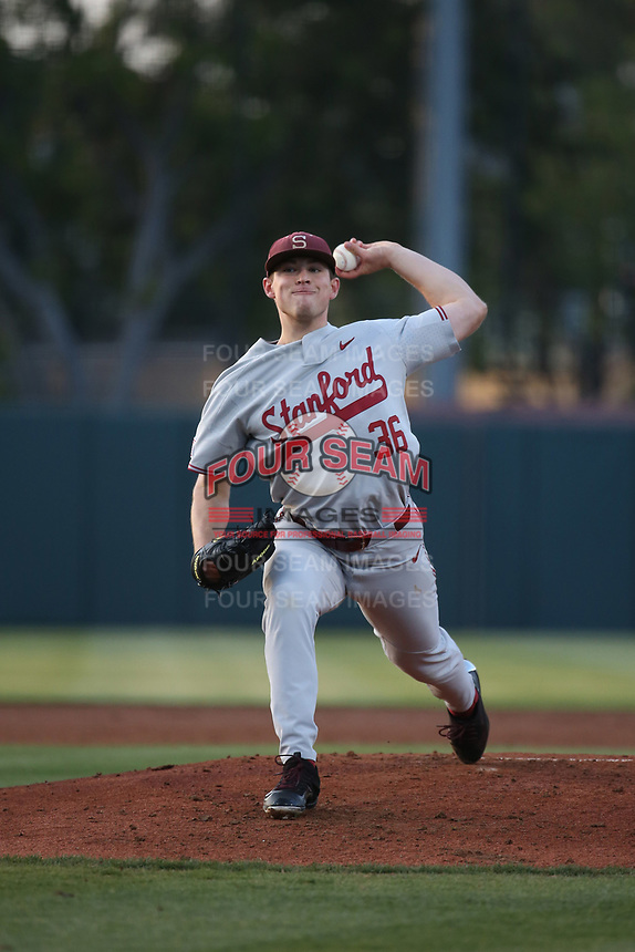 Kris Bubic (36) of the Stanford Cardinal pitches against the Southern California Trojans at Dedeaux Field on April 6, 2017 in Los Angeles, California. Southern California defeated Stanford, 7-5. (Larry Goren/Four Seam Images)