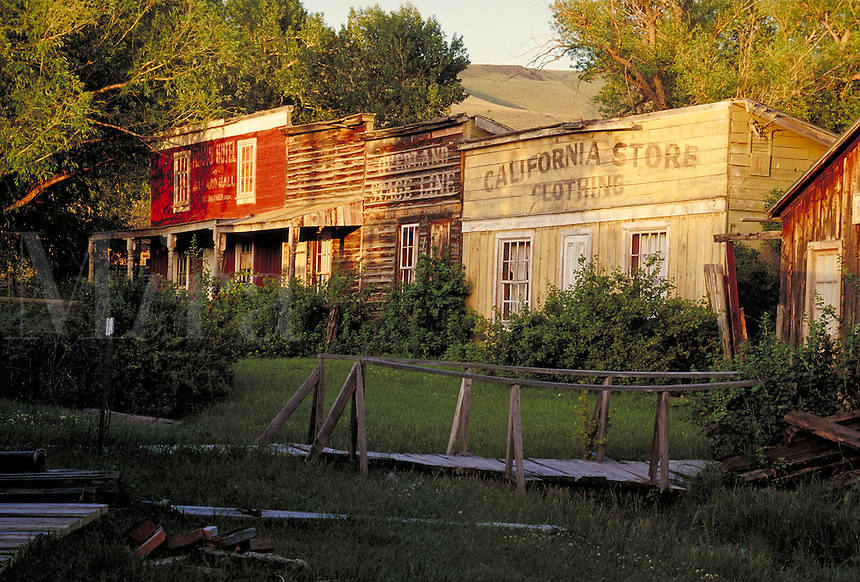 """Important gold rush town of the 1800's. Served as territory capital 1865 - 1876. Home of the original """"""""Vigilantes"""""""". ghost town, wild west, clapboard, town. Virginia City Montana USA."""