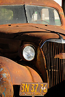 """Old rusty car in Shoshone town near Death Valley, California, USA The town of Shoshone was founded in 1910 by Ralph Jacobus """"Dad"""" Fairbanks, a Death Valley prospector, freighter and entrepenuer interested in establishing businesses along the station stop of the Tonopah & Tidewater Railroad. Charles """"Charlie"""" Brown, one time sheriff of Greenwater, married Stella Fairbanks in 1910 and became Dad Fairbanks' son-in-law. In 1920 Charlie and Stella, after moving around quite a bit, returned to Shoshone and bought into a partnership with Dad on the town. The little town developed and expanded. Dad saw potential in Baker and moved on in 1927. Charlie became a California state senator and in 1938, town management was turned over to Charlie's son, Charles. Through the years and following successions the little town remains in family hands."""